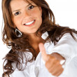 Business woman with thumbs-up - Stock Photo
