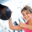 Woman at the gym boxing — Photo