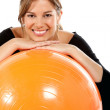 Royalty-Free Stock Photo: Woman with a pilates ball