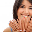 Woman with colored pencils — Stock Photo #7751130