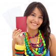 Woman holding her passport — Stock Photo