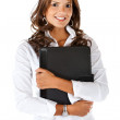 Business woman with a portfolio — Stok fotoğraf