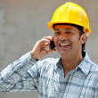 Construction worker on the phone — Stock Photo