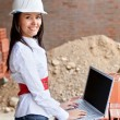 Stock Photo: Female engineer with a computer