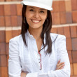 Female architect at a construction site — Stockfoto