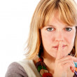 Woman making a silence signal — Stock Photo #7751484