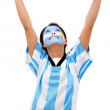 Happy Argentinean football fan - Zdjęcie stockowe