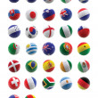 3D football with flags - Stock Photo