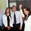 Business woman leading a team — Stock Photo