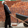 Engineer with wheel-barrow — Stock Photo