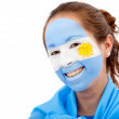 Stock Photo: Argentiniflag - female face