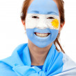 Stock Photo: Argentinian flag - female face