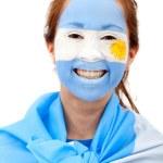 Argentinian flag - female face — Stock Photo