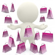 3D person with shopping bags — Stock Photo #7752029