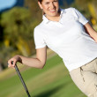 Beautiful golf player — Stok fotoğraf