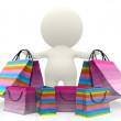 3D person with shopping bags — Stock Photo