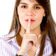 Business woman asking for silence — Stock Photo #7752354