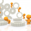 Stock Photo: 3D assembling gears