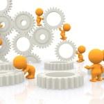 3D assembling gears — Stock Photo