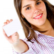 Woman with business card — Stock Photo #7752626