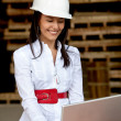 Female architect with a laptop — Stock Photo