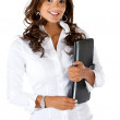 Business woman holding laptop computer — Stock Photo #7752904