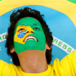 Brazilian flag portrait — 图库照片