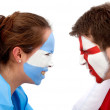Football fans duel - Stock Photo