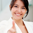 Business woman with thumb up — Stock Photo #7753040