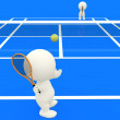 3D playing tennis - Foto Stock