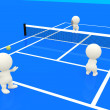 3D playing tennis - Stock Photo