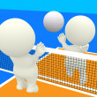 3D playing volleyball - Stock Photo
