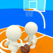 3D bouncing basketball - Stock Photo