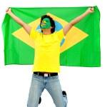Brazilian flag portrait — Stock Photo
