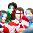 fotboll fläktar porträtt — Stockfoto