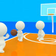 3D playing basketball - Stock Photo