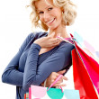 Shopping woman smiling — Stockfoto