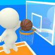 3D person scoring at basketball — Stock Photo