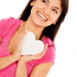 Woman with a heart — Stock Photo