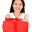 Woman with a gift — Stock Photo #7753553