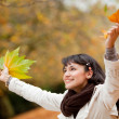 Autumn woman outdoors — Stock Photo