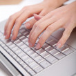 Hands on keyboard — Stockfoto
