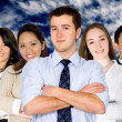 Confident business man and his business team — Stock Photo #7753821