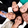 Business team work - heads together - Stock Photo