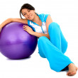 Stock Photo: Casual Girl with pilates ball