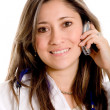Female doctor on the phone — Stock Photo