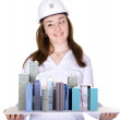 Architecture project - business woman — Stock Photo