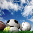 Foto Stock: Sports balls on grass