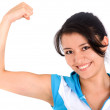 Stock Photo: Fitness girl showing her biceps