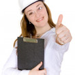 Female architect with thumbs up — Stock Photo